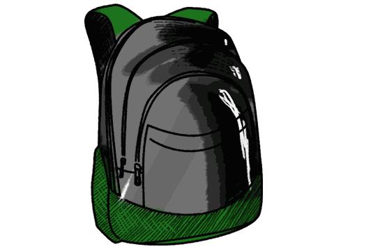 Schulrucksack schwarz gruen