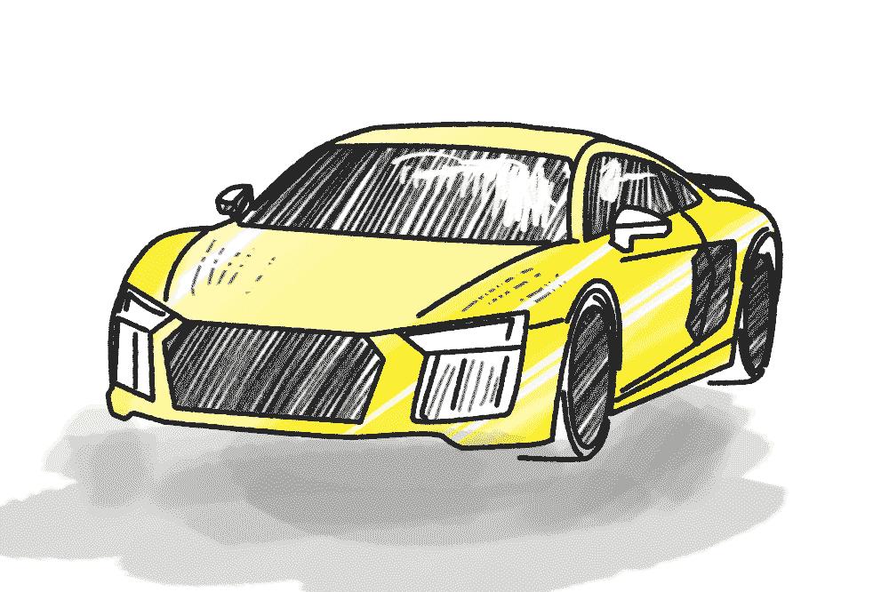Auto Gelb Schulranzen Motiv