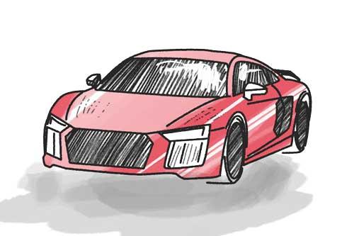 Auto rot Schulranzen Motiv